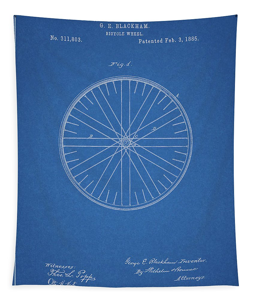 1885 Bicycle Wheel Patent Tapestry featuring the drawing 1885 Bicycle Wheel Patent by Dan Sproul