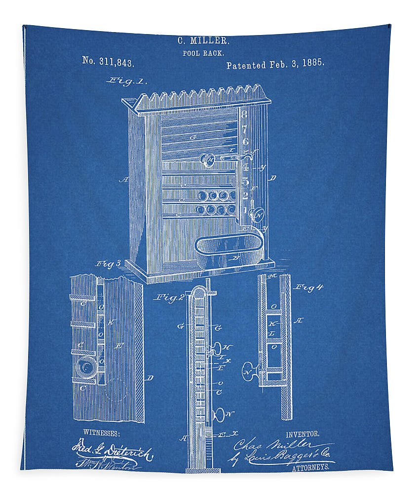 1885 Pool Rack Patent Tapestry featuring the drawing 1885 Pool Rack Patent by Dan Sproul