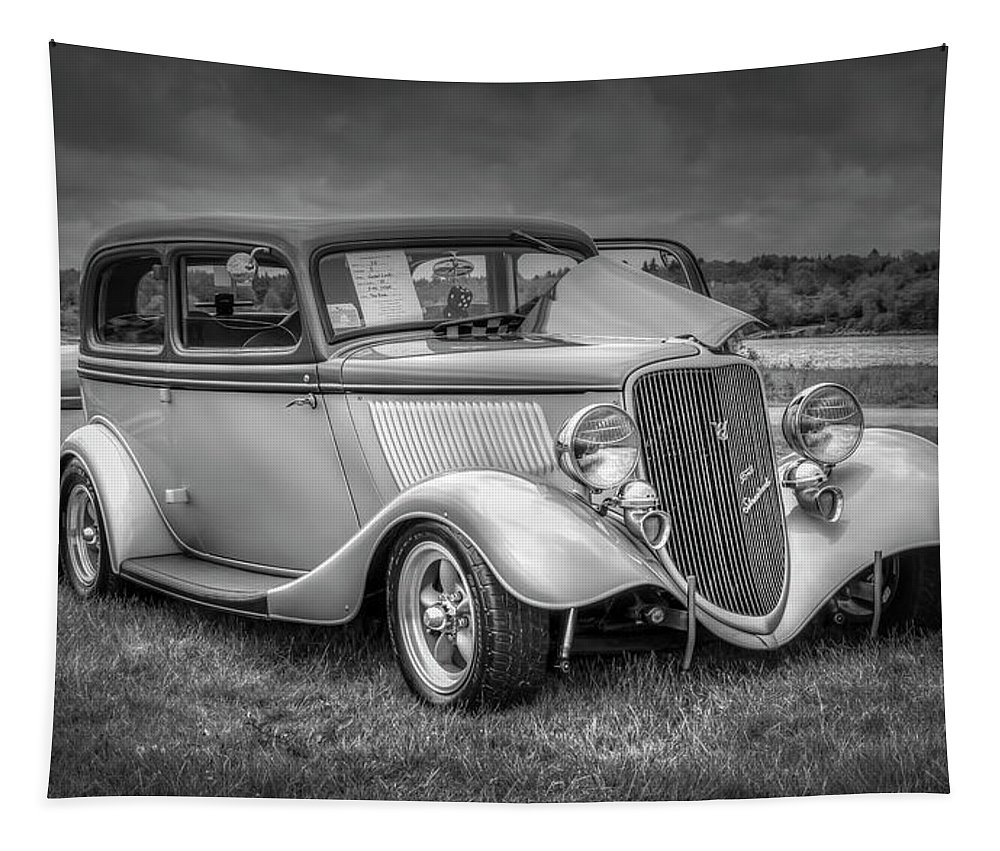 2019 Tapestry featuring the digital art 1933 Ford Tudor Sedan With Trailer by Ken Morris