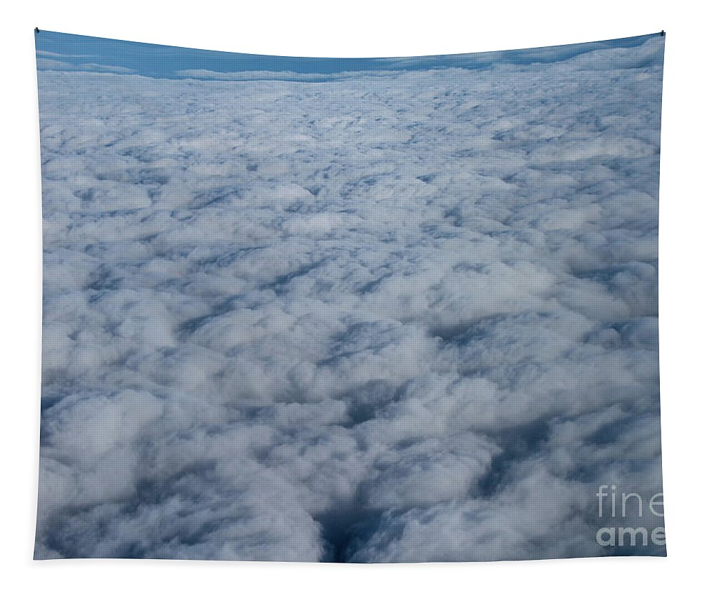 Blue Tapestry featuring the photograph Beautiful Cloudscape High Up In The Sky. by Raymond De la Croix