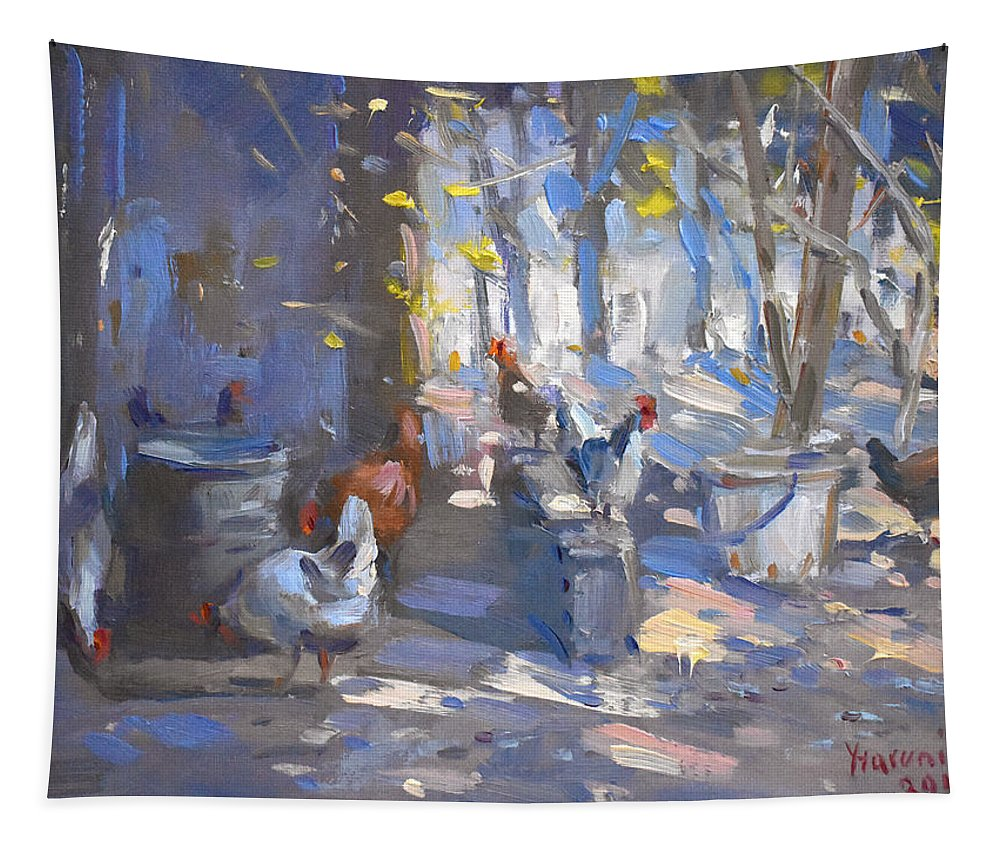 Garden Tapestry featuring the painting Chickens At Lidas Garden by Ylli Haruni