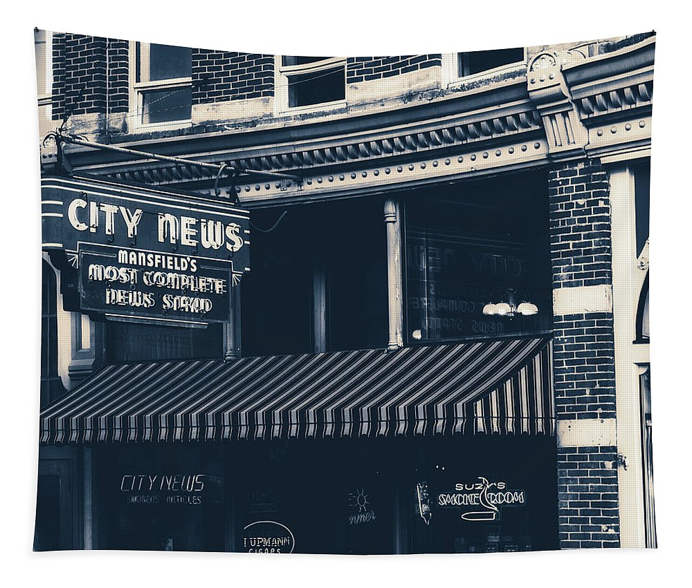 City News Tapestry featuring the photograph City News - Mansfield, Ohio by Mountain Dreams