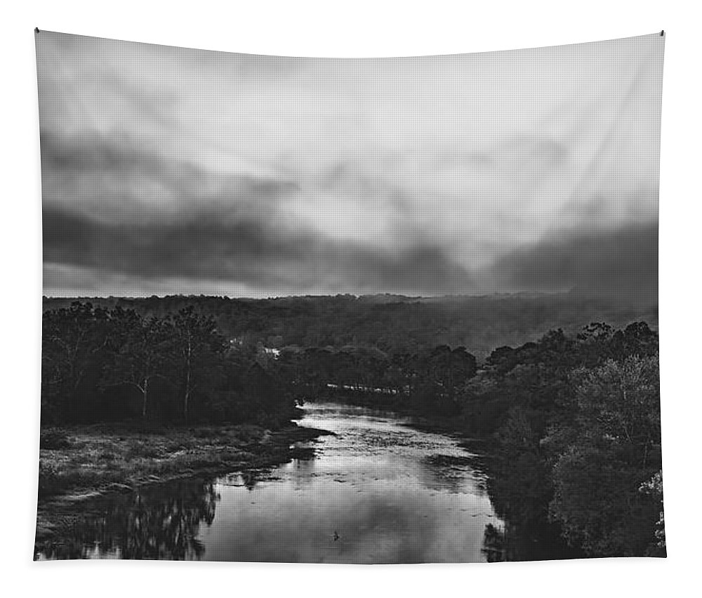 Fog Tapestry featuring the photograph Fog Over The Greenbrier River by Mountain Dreams