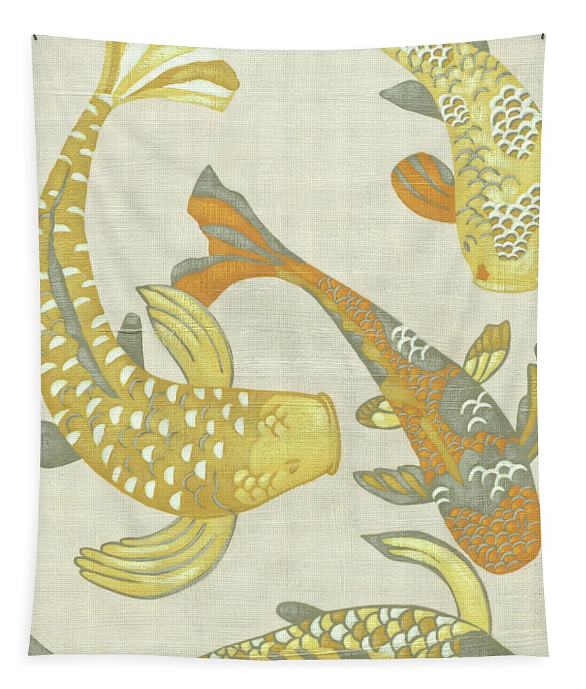 Asian Tapestry featuring the painting Golden Koi I by Chariklia Zarris