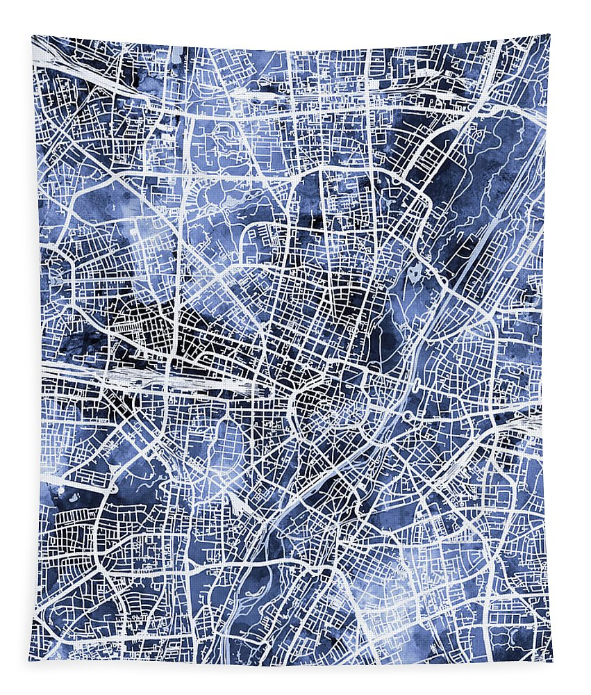 Munich Tapestry featuring the digital art Munich Germany City Map by Michael Tompsett