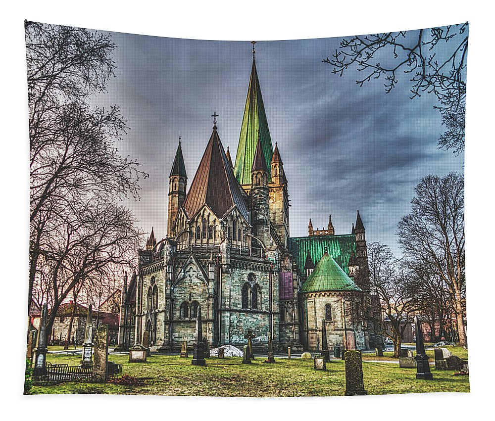 Nidaros Cathedral Tapestry featuring the photograph Nidaros Cathedral by Pixabay