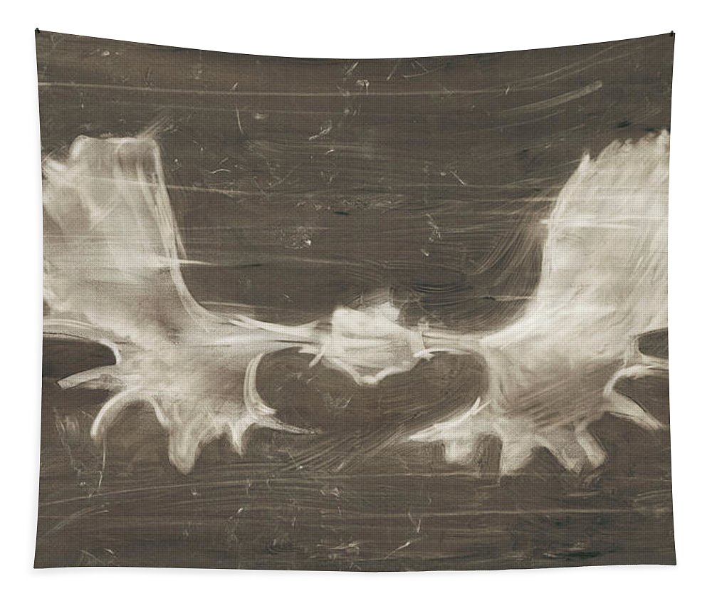 Animals Tapestry featuring the painting Rustic Moose Mount II by Ethan Harper