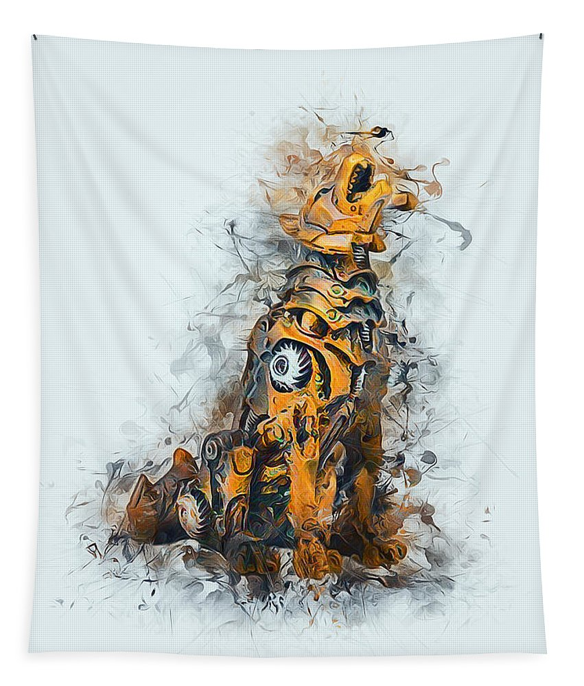 Steampunk Tapestry featuring the digital art Steampunk Wolf by Ian Mitchell