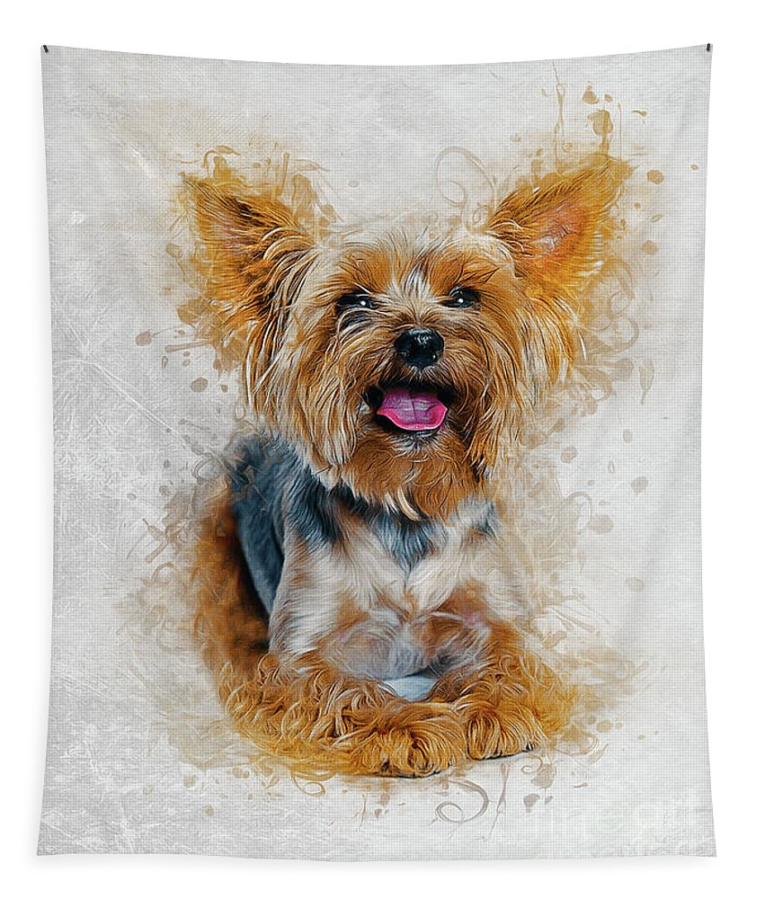Pet Tapestry featuring the digital art Yorkshire Terrier by Ian Mitchell