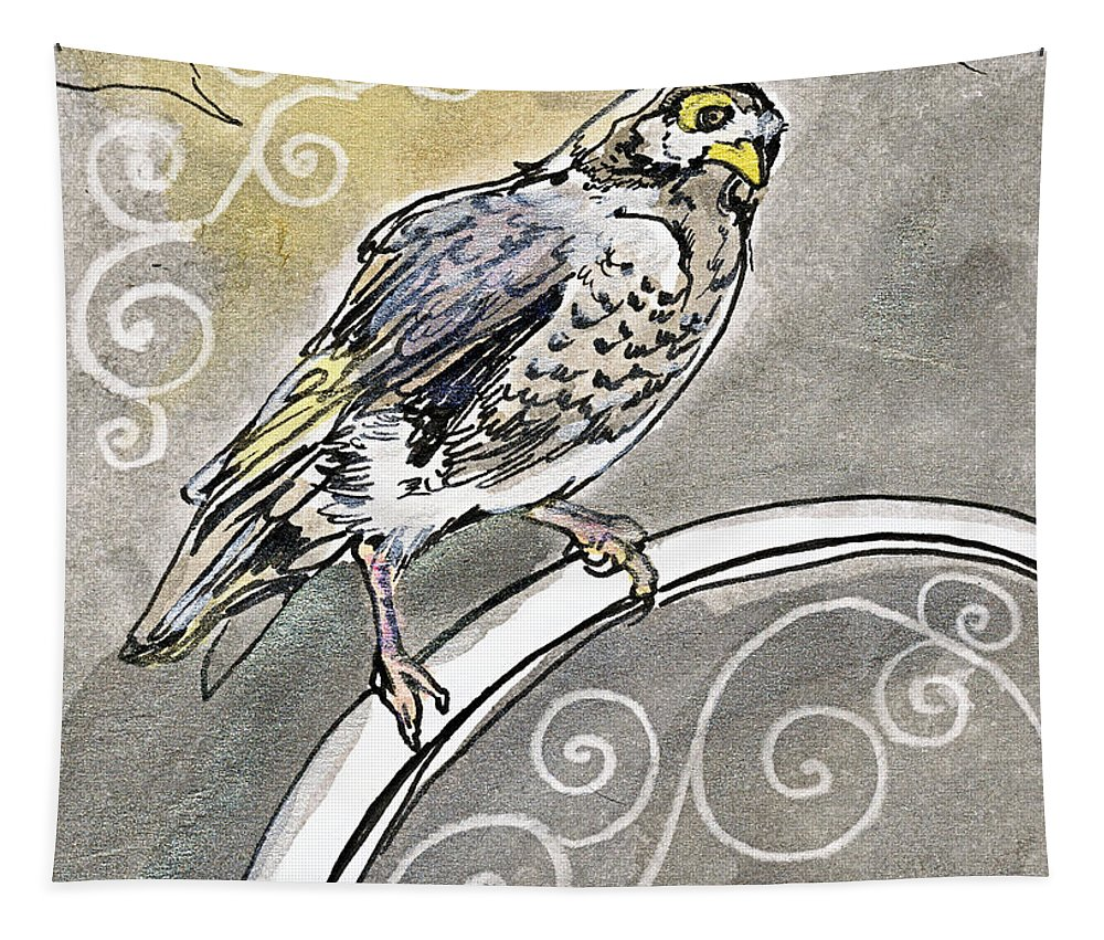 Myna Tapestry featuring the drawing 2018 Septembird 16 Myna Bird by Katherine Nutt