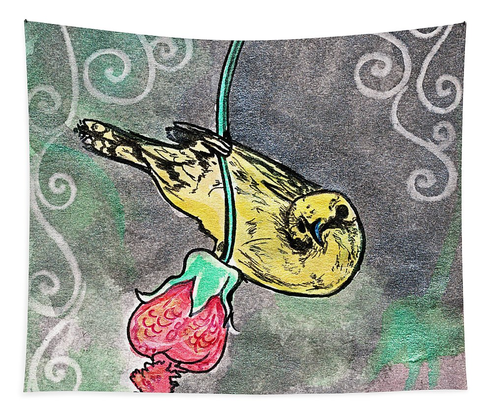 Bird Tapestry featuring the drawing 2018 Septembird 17 by Katherine Nutt