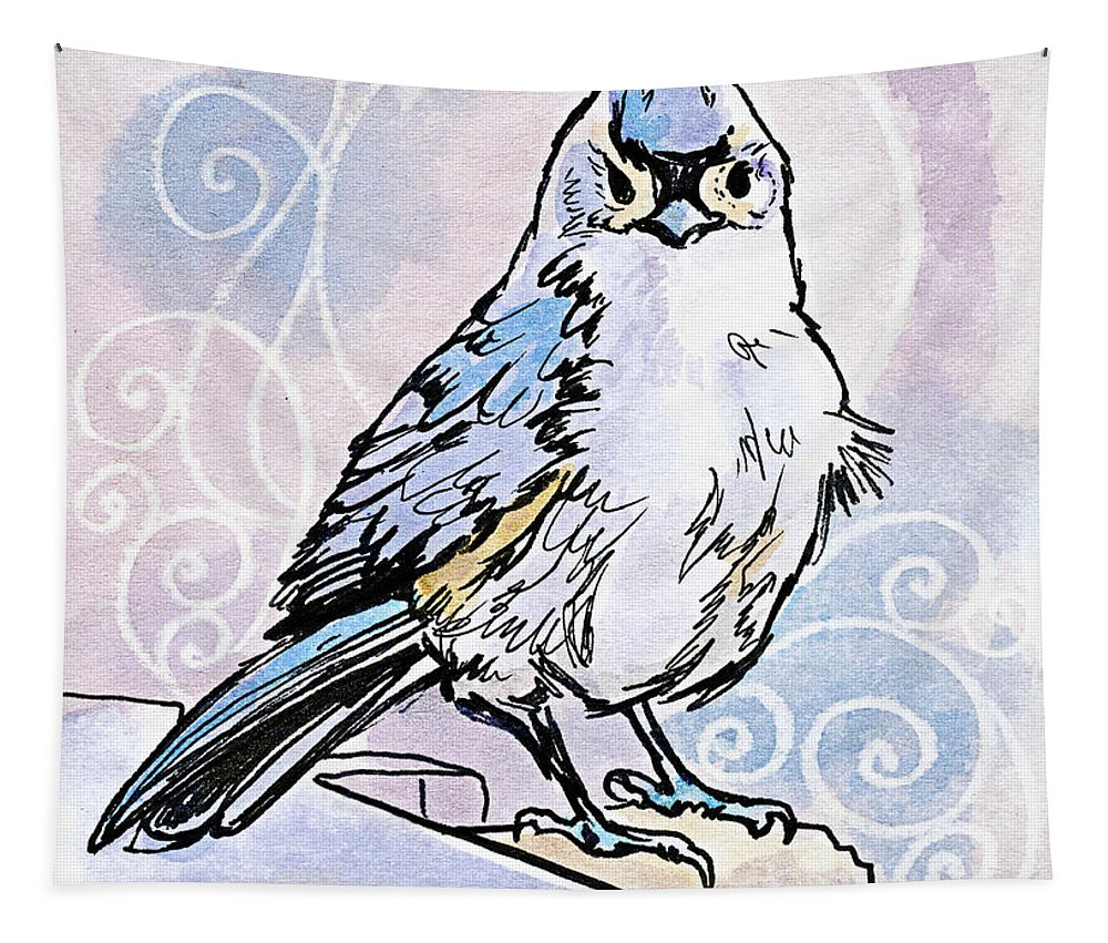 Bird Tapestry featuring the drawing 2018 Septembird 3 by Katherine Nutt