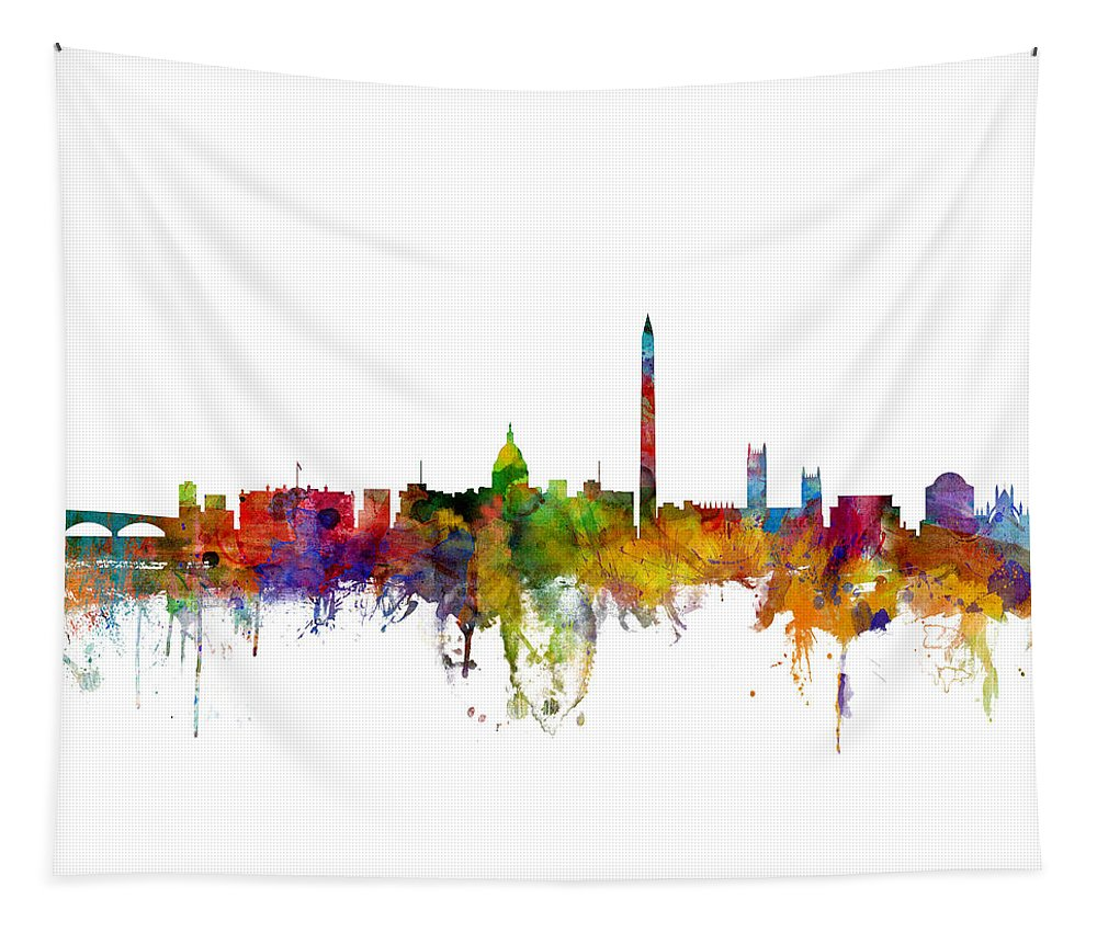 United States Tapestry featuring the digital art Washington Dc Skyline by Michael Tompsett