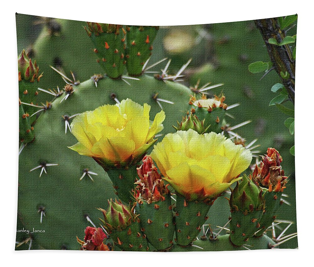 Yellow Prickly Pear Flowers Tapestry featuring the digital art Yellow Prickly Pear Flowers by Tom Janca