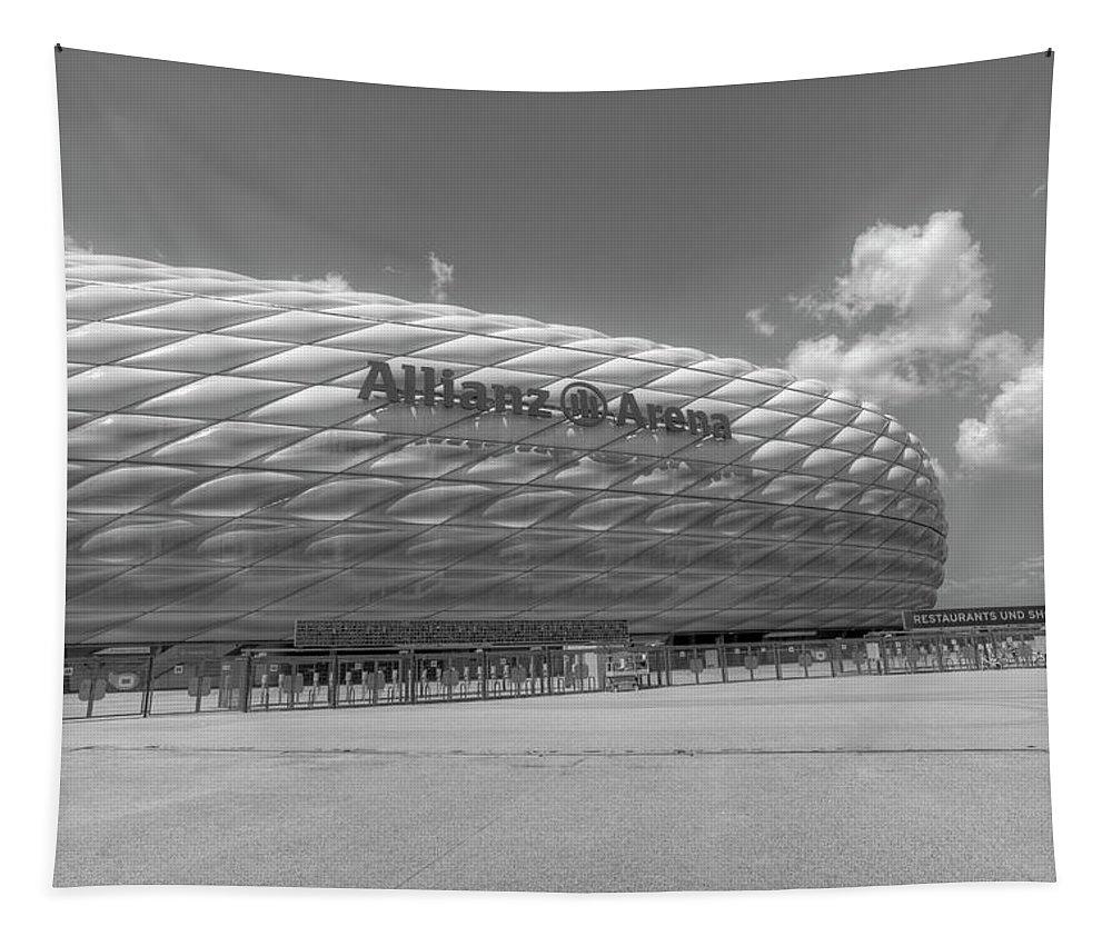 Allianz Arena Tapestry featuring the photograph Allianz Arena Munich by David Pyatt