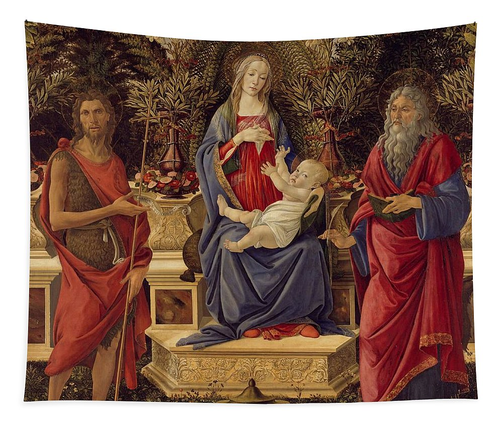 Sandro Botticelli Tapestry featuring the painting Madonna with Saints by Sandro Botticelli