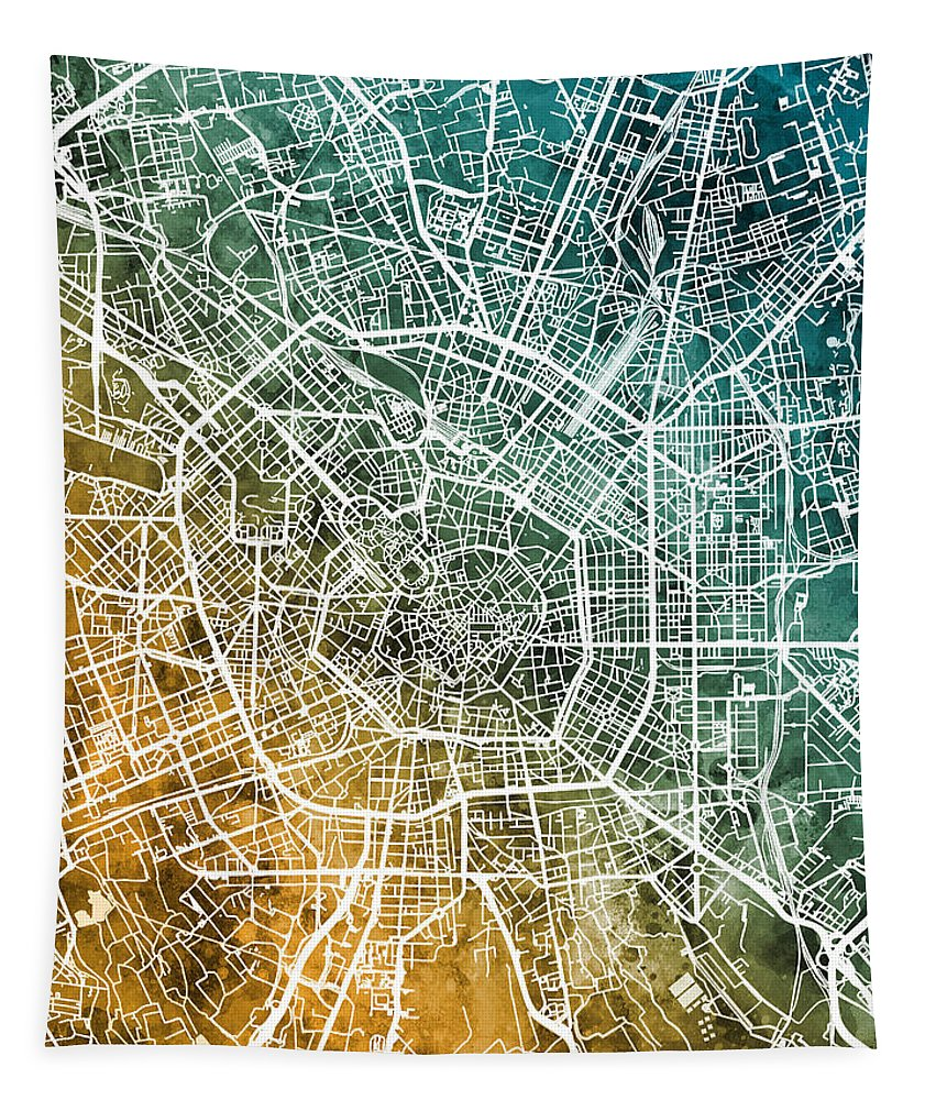 Milan Tapestry featuring the digital art Milan Italy City Map by Michael Tompsett
