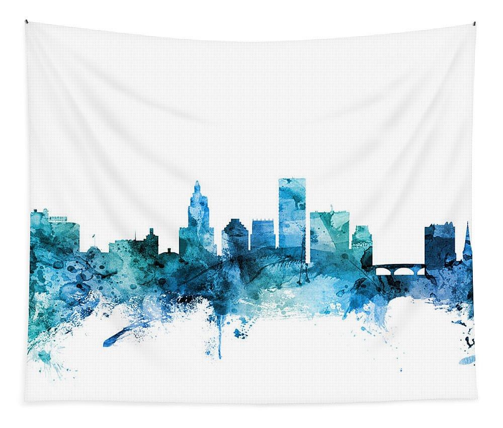Providence Tapestry featuring the digital art Providence Rhode Island Skyline by Michael Tompsett