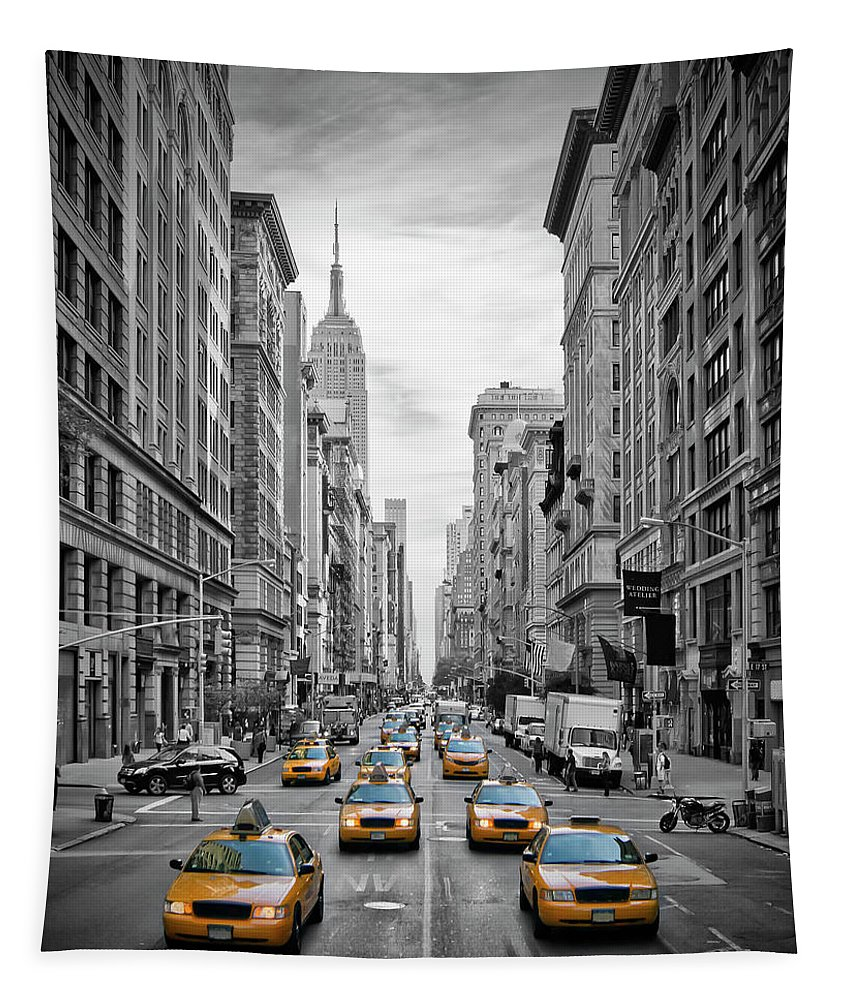 Fifth Avenue Tapestry featuring the photograph 5th Avenue NYC Traffic II by Melanie Viola