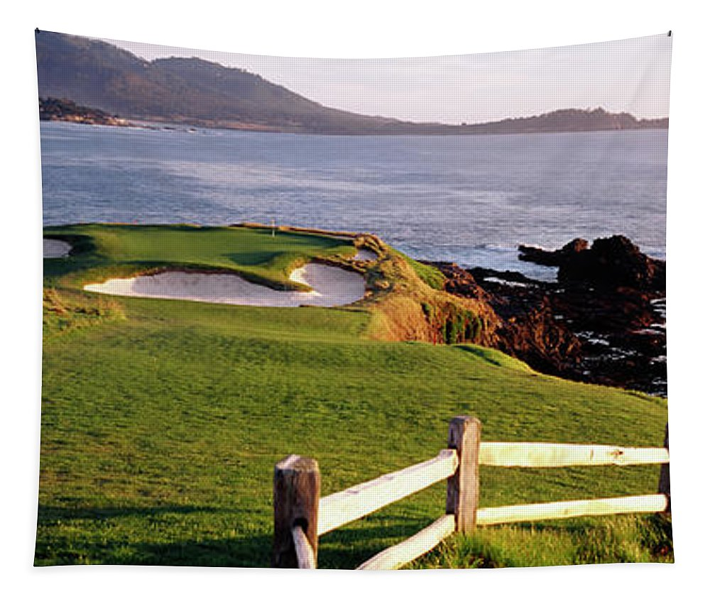 Photography Tapestry featuring the photograph 7th Hole At Pebble Beach Golf Links by Panoramic Images