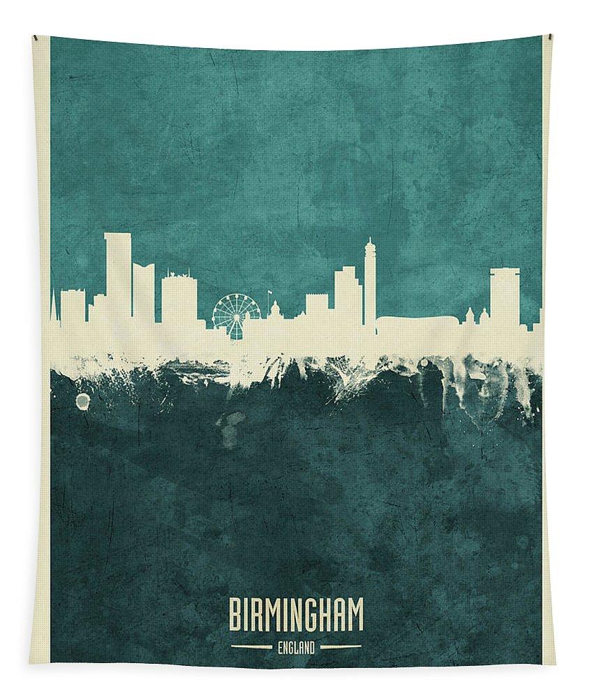 Birmingham Tapestry featuring the digital art Birmingham England Skyline by Michael Tompsett
