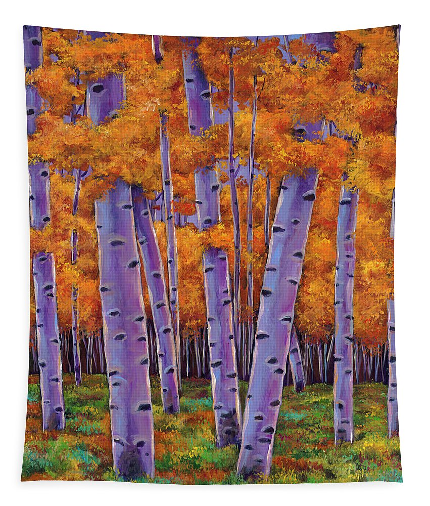 Aspen Trees Tapestry featuring the painting A Chance Encounter by Johnathan Harris