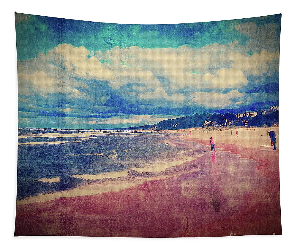 Beach Tapestry featuring the photograph A Day At The Beach by Phil Perkins