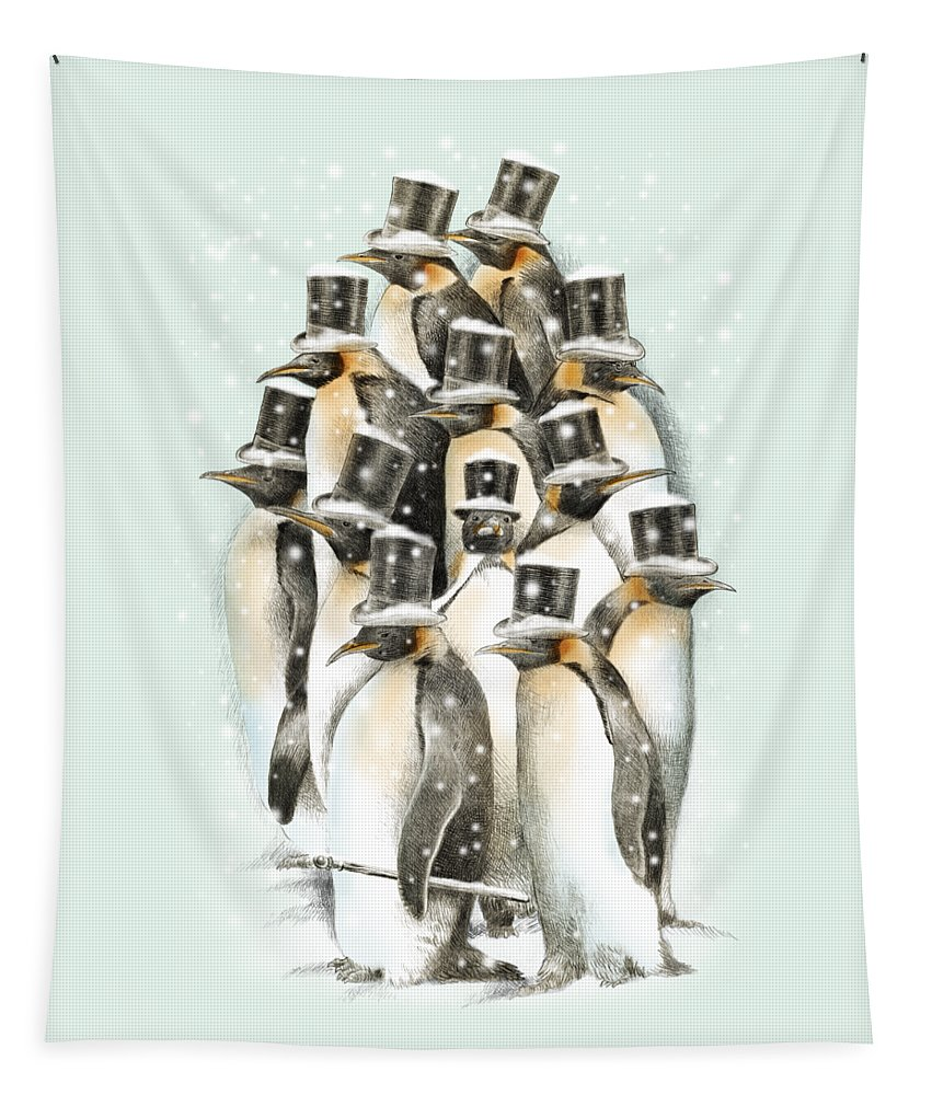 Penguins Tapestry featuring the drawing A Gathering in the Snow by Eric Fan