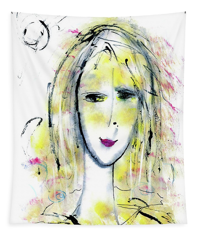 Girl Tapestry featuring the drawing A Girl By The Artist Catalina Lira by Catalina Lira