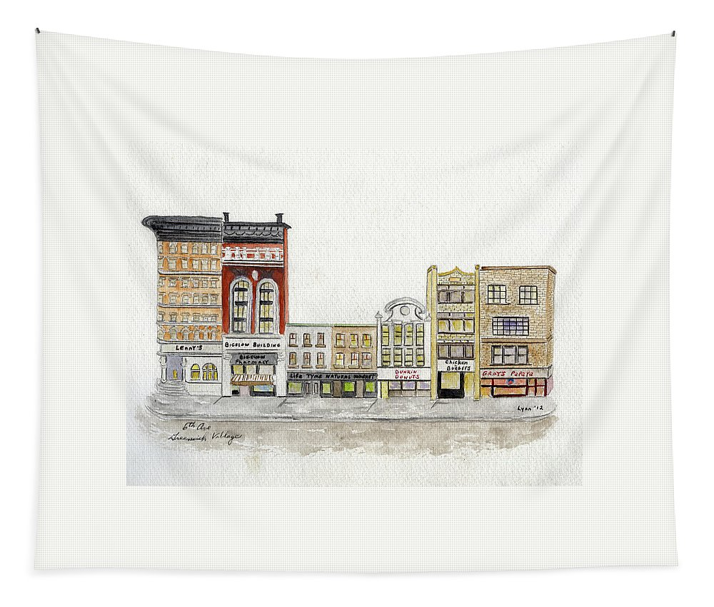 Greenwich Village Tapestry featuring the painting A Greenwich Village Streetscape by Afinelyne