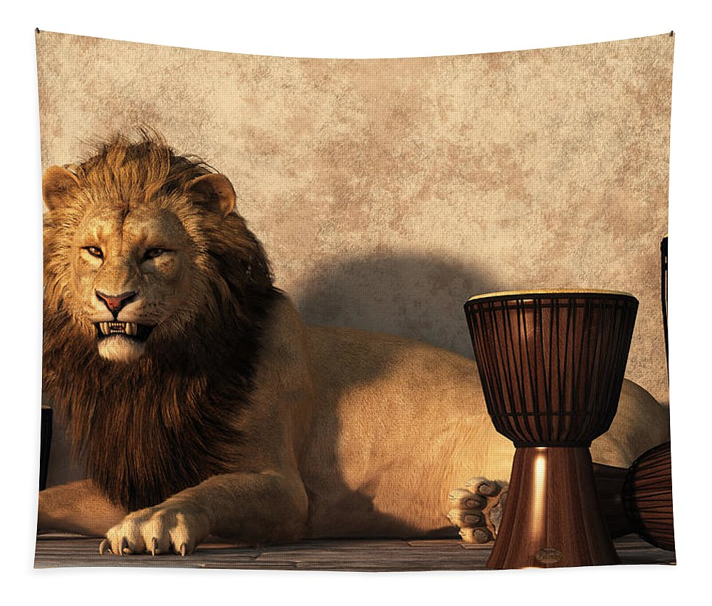 Lion Tapestry featuring the digital art A Lion Among Drums by Daniel Eskridge