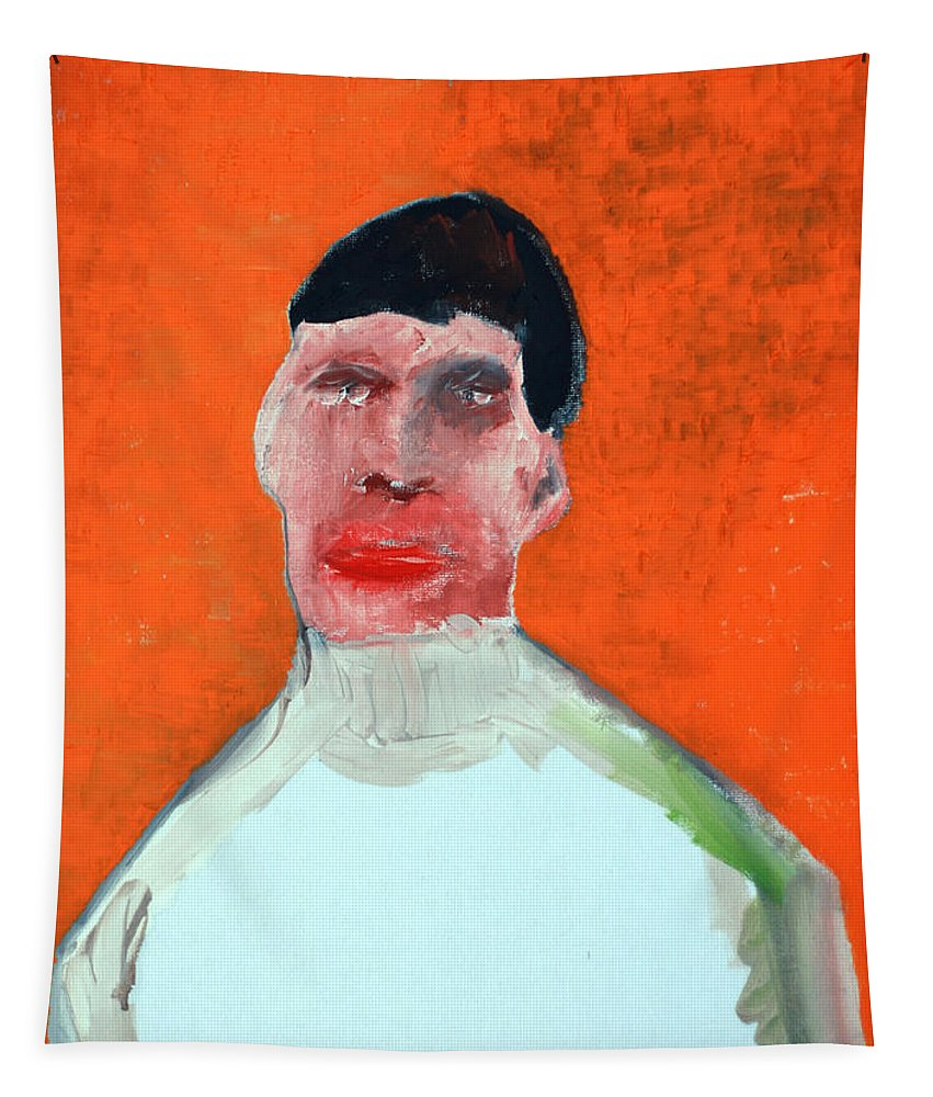 Orange Tapestry featuring the painting A Man With An Orange Background by Edgeworth DotBlog