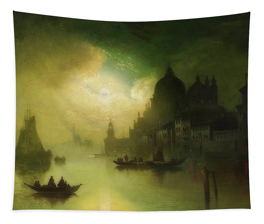 Painting Tapestry featuring the painting A Moonlit Night Over Venice by Mountain Dreams