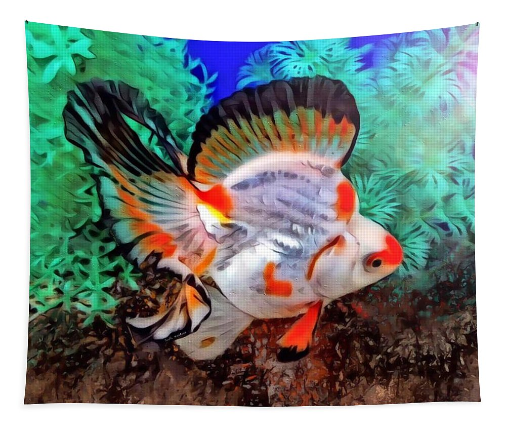 A Ryukin Goldfish With Butterfly Tail Tapestry