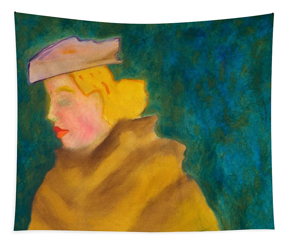 Fur Tapestry featuring the painting A Woman In A Fur by Edgeworth DotBlog