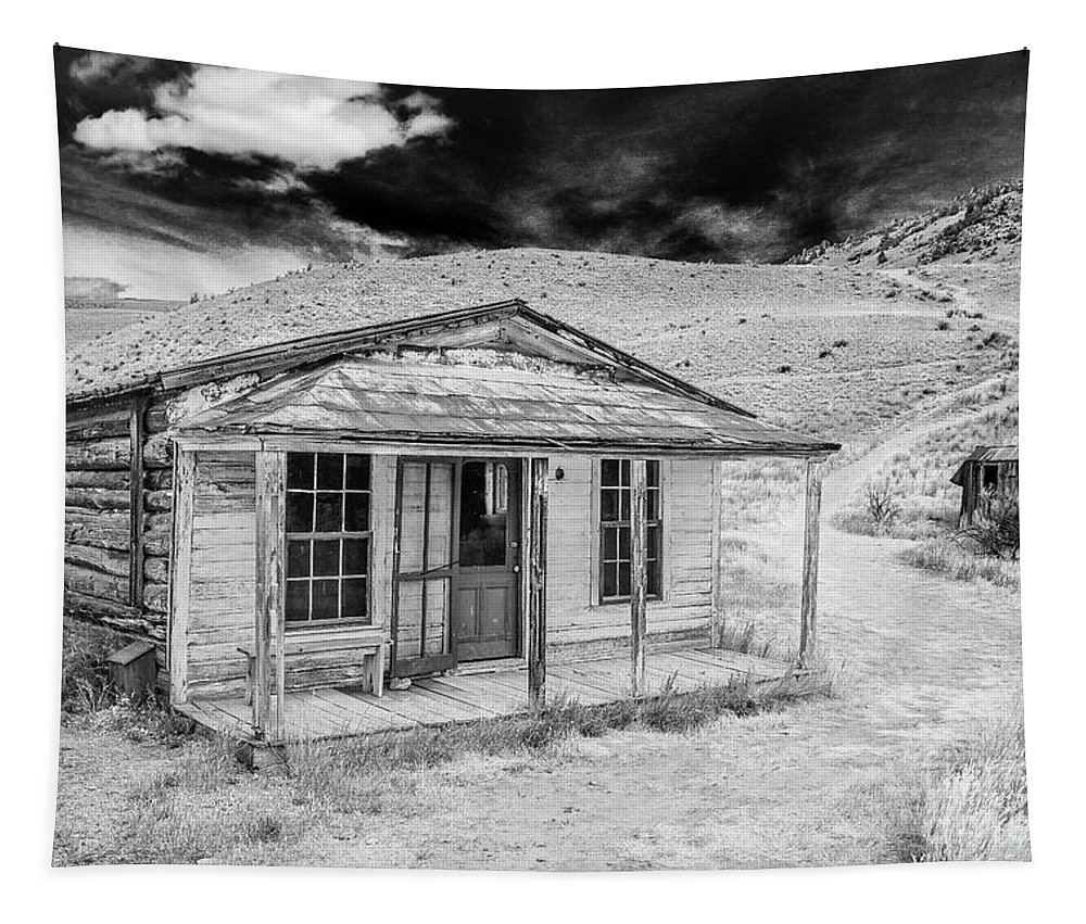 Bozeman Tapestry featuring the photograph Abandoned Miners Log Cabin Bannack Montana by Edward Fielding