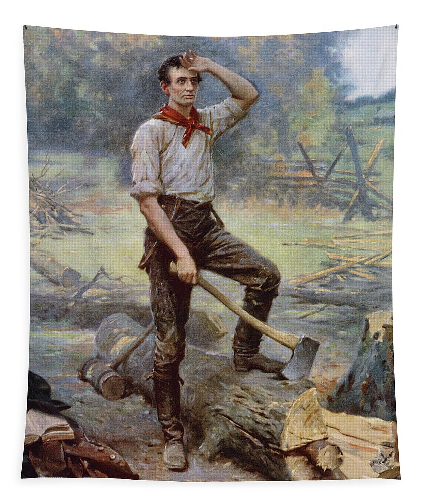 Abraham Lincoln Tapestry featuring the painting Abe Lincoln The Rail Splitter by War Is Hell Store