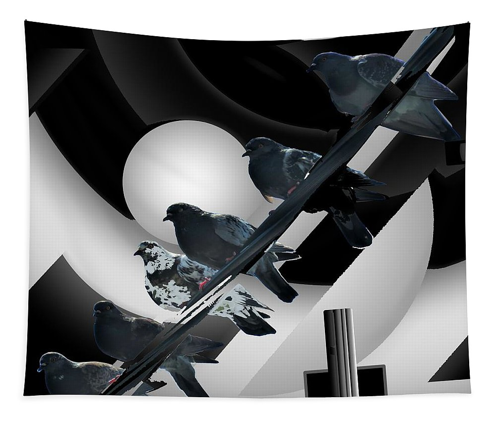 Modern Abstract Tapestry featuring the mixed media Abstract Birds On A Wire Black N White 3of3 by Joan Stratton