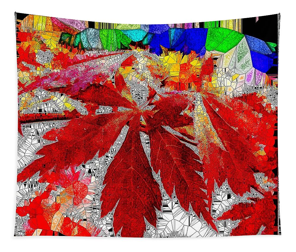 Abstract Tapestry featuring the digital art Abstract Fall Acer Stained Glass by Mo Barton