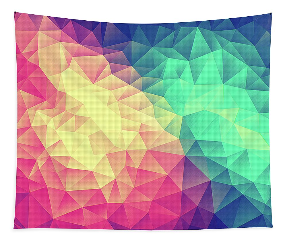 Colorful Tapestry featuring the digital art Abstract Polygon Multi Color Cubism Low Poly Triangle Design by Philipp Rietz