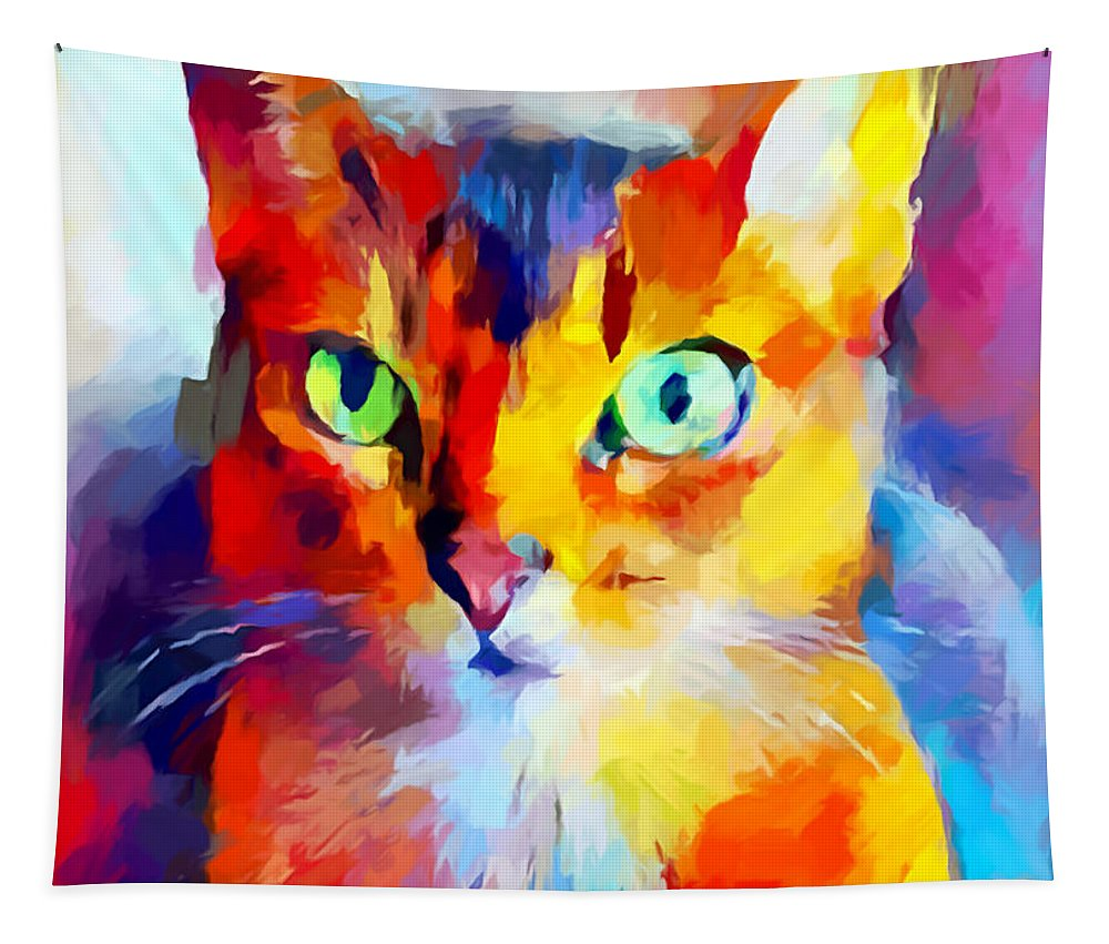 Abyssinian Cat Tapestry featuring the painting Abyssinian Cat by Chris Butler