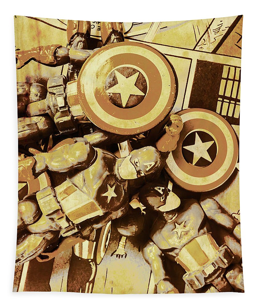 Toy Tapestry featuring the photograph Action Figure Comic Strip by Jorgo Photography - Wall Art Gallery