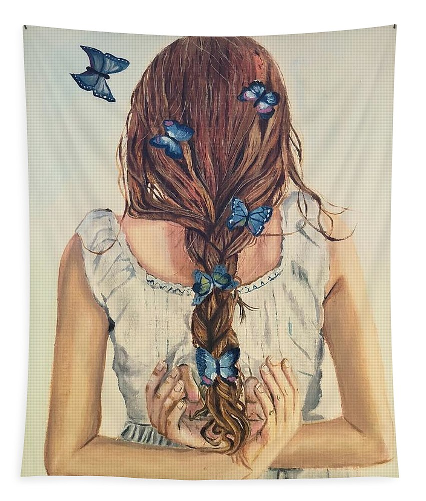 Portrait Tapestry featuring the painting Affection by Asiya Ali