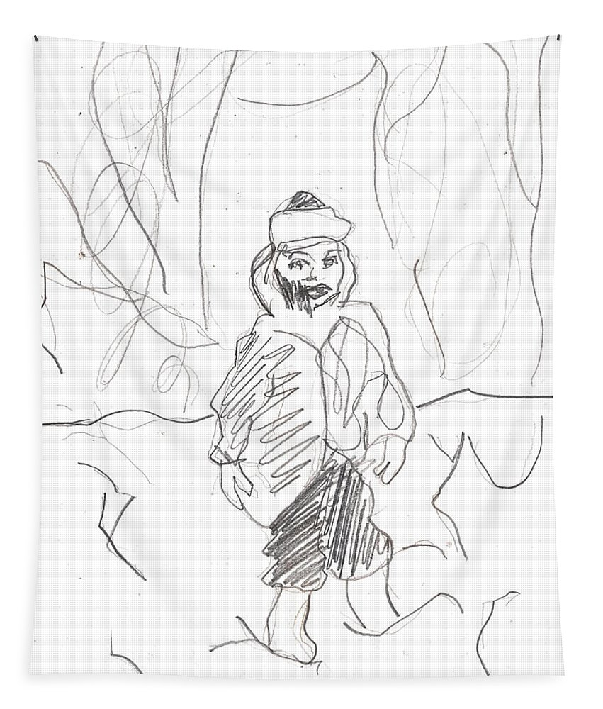 Girl Tapestry featuring the drawing After Billy Childish Girl Pencil Drawing B2-16 by Artist Dot