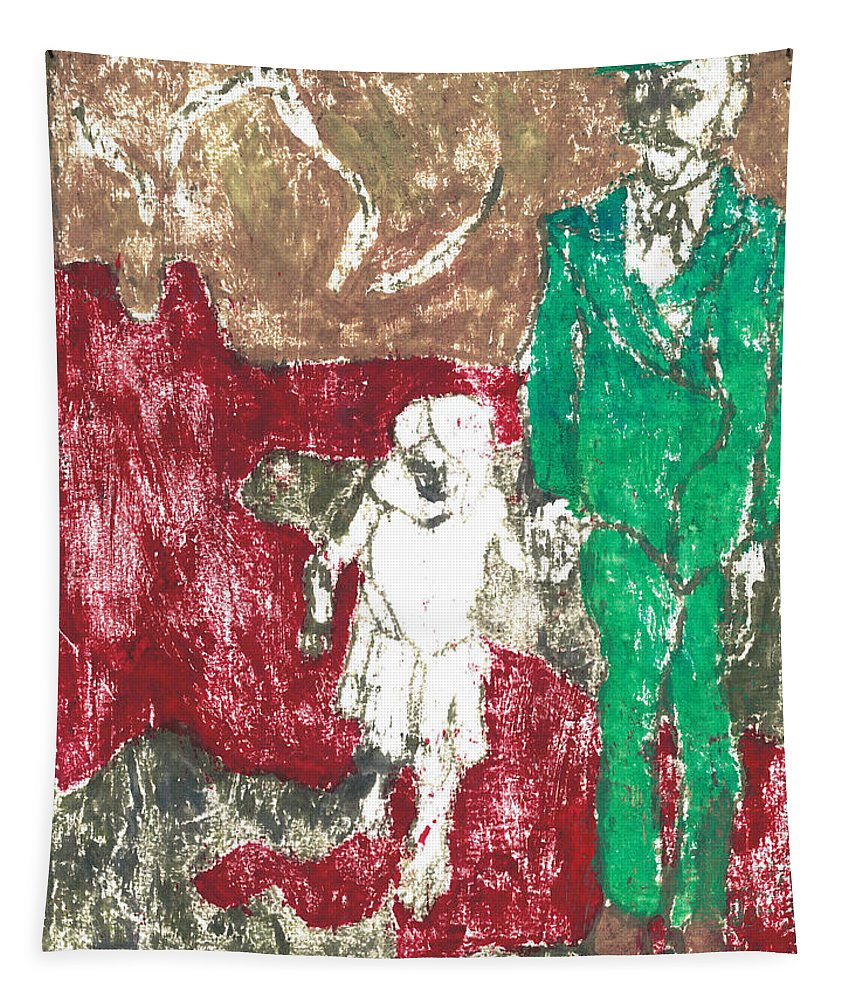 Painting Tapestry featuring the painting After Billy Childish Painting Otd 43 by Artist Dot