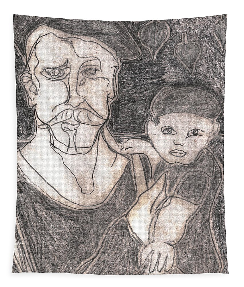 Drawing Tapestry featuring the drawing After Billy Childish Pencil Drawing 19 by Artist Dot