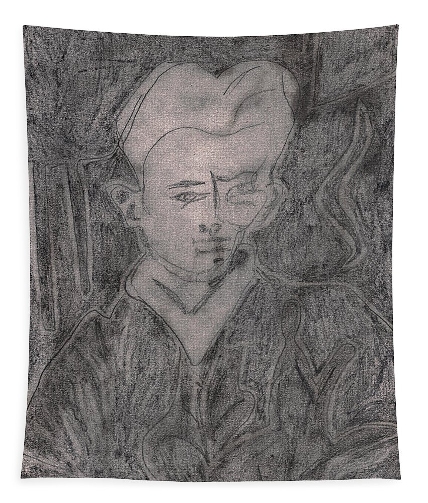 Drawing Tapestry featuring the drawing After Billy Childish Pencil Drawing 2 by Artist Dot
