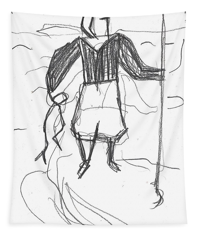 Drawing Tapestry featuring the drawing After Billy Childish Pencil Drawing B2-9 by Artist Dot