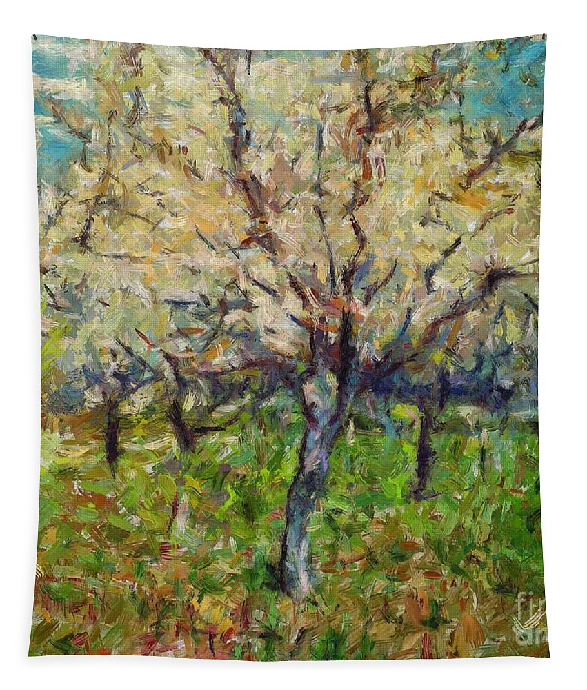 Spring Tapestry featuring the painting Almond Orchard by Dragica Micki Fortuna