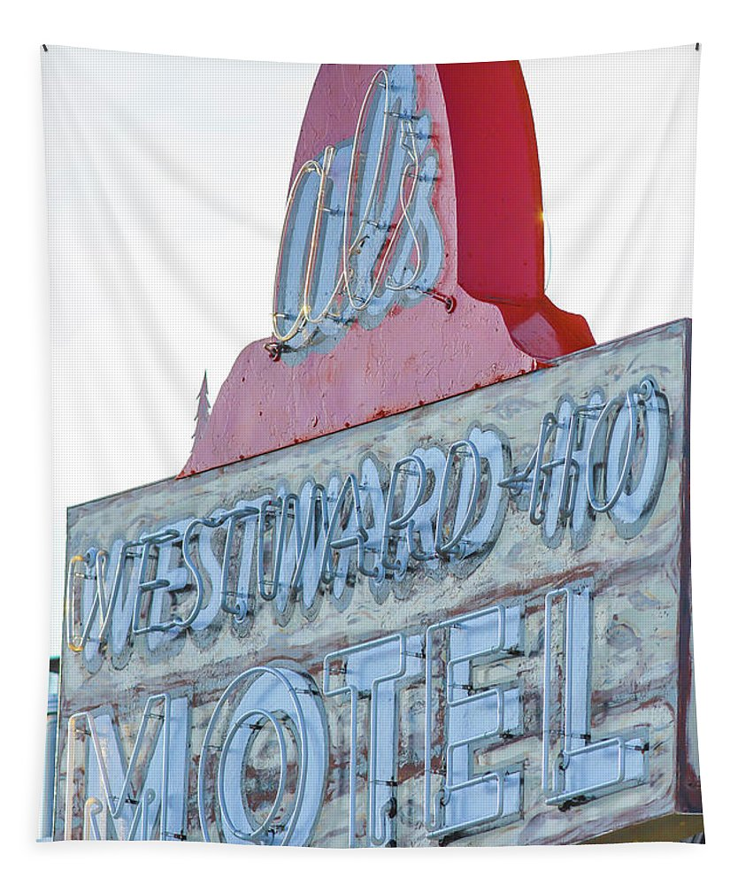 American Tapestry featuring the photograph Als Westward Ho Motel Neon Sign West Yellowstone by Edward Fielding